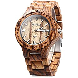 Natural Wooden Watch Japan Quartz Movement Wood Watches With Calendar Date Function Water Resistance