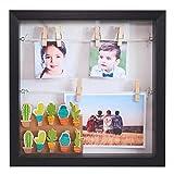 Gadgy  3D Bilderrahmen | MDF Rahmen mit 18 Wäscheklammern | 25x25x4 cm Box schwarzer Design |...