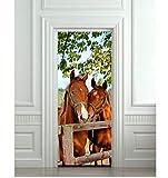 Diy 3D Wandaufkleber Wandhauptdekor Pferde Stall Scheune Abnehmbare Tür Aufkleber Decole 77X200cm