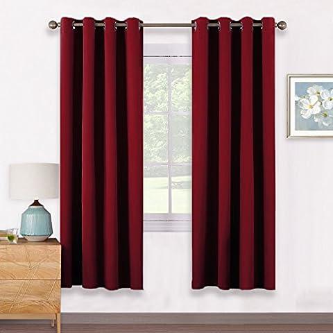 Vorhang Blickdichte Vorhänge Isolierte Vorhänge - PONY DANCE 175 x 140 cm (H x B), Rot 2 Stücke Verdunkelungsvorhänge mit Ösen, Energiespar & Wärmeisolierend, Einfacher und Moderner Stil für