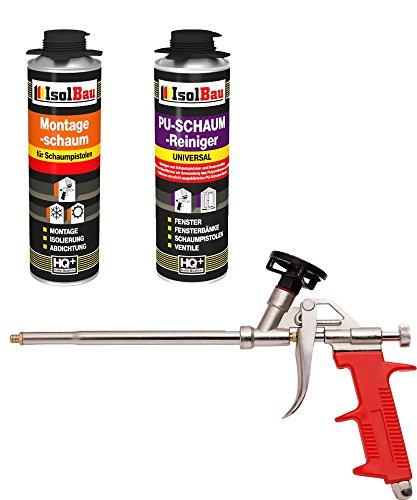 SET Pistolenschaum 1 Dose 500 ml Montageschaum 1K Bauschaum PU-Schaum + 1 Reiniger + 1 Schaumpistole
