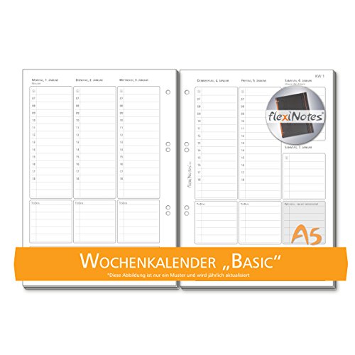 Ringbuch-kalender 6 Refill (Schaar-Design flexiNotes® WOCHENKALENDER 2018, Einlagen für Notizbücher, Organizer, Terminplaner, Ringbücher, Timer, Jahresplaner, Zeitplaner, Typ: Basic, Größe:A5)