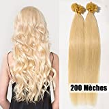 S-noilite® Extensiones de queratina de pelo natural - 55CM - 200 mechas (0.5g/mecha) - Pre bonded Nail Tip U-tip Remy Hair Extensions - #60 Rubia Platino