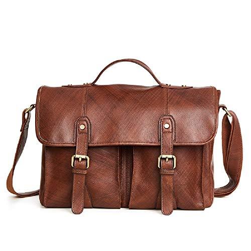 Preisvergleich Produktbild WFF Business-Aktentasche, Vintage-Mode für Herrenhandtasche, Multifunktions-Schultertasche, Wildledertasche,Braun,15 Zoll