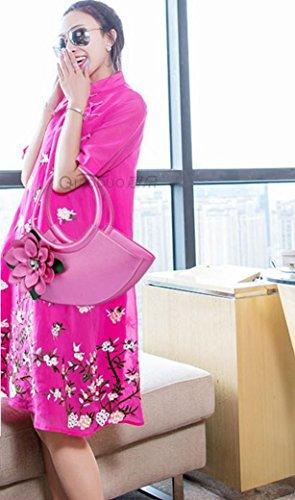 HYLM Art- und Weisedame-Handtaschen-neue Kurier-Beutel-Blumen punktierte Schulter Bagg rose red