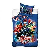 Justice League Parure de Lit, Coton, Bleu Marine, 160x200 + 70x80 cm