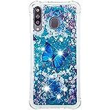 Phcases Funda para Samsung Galaxy M30/A40S, 3D Bling Brillante Glitter Carcasa Silicona Gel TPU Flexible Cover Crystal Clear Case Transparente Protectora Blanda Caso Caja Cubierta(Mariposa).