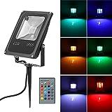 OurLeeme Flutlicht 20 W RGB LED Rasenfernbedienung Lampe mit Spike wasserdicht für Yard Patio Weg AC 85-245 V UK Stecker