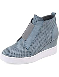 Botines de Cuña Plataforma Piel Zapatillas Deportivas de Mujer Casual Tacon Medio 4.5cm Ankle Boots