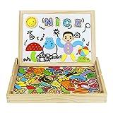 Tablero de Dibujo Magnético Puzzles Rompecabezas Lateral Doble de Madera para Niños de más de 3 Años (93+ Piezas)