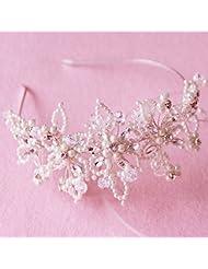 SFGVDSFSDF DHC* Copricapo delle Donne/Wedding Accessori per Capelli/Sposa Copricapo/Fascia Alta/Puri Strass a Mano/Perline Cristallo/semplici retrò/Fascia per Capelli