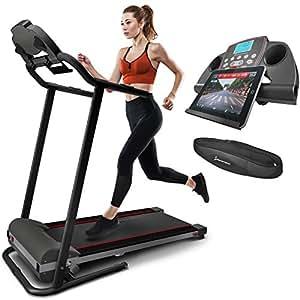 Sportstech Tapis de course électrique F10 commande par application Smartphone, compatible ceinture cardio Bluetooth Autolubrification 10 KM/H marche jogging fitness 13 programmes compact repliable