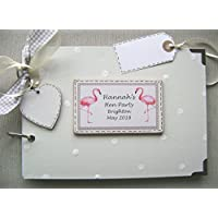 PERSONALISED A5 SIZE PHOTO ALBUM, SCRAPBOOK, MEMORY, GUEST BOOK, MULTI USE GIFT. HEN DO .PARTY. FLAMINGO'S .21CM X 15CM