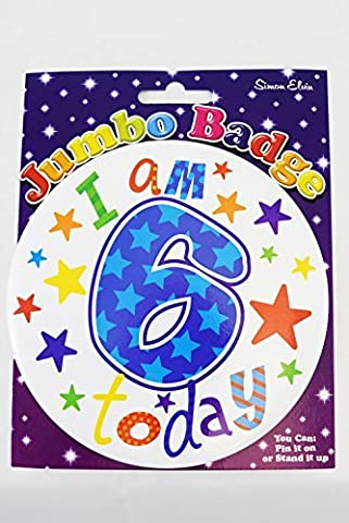 Happy I Am 6 Today Birthday Age Boy Jumbo Badge Kids Star Accessory Party Gift