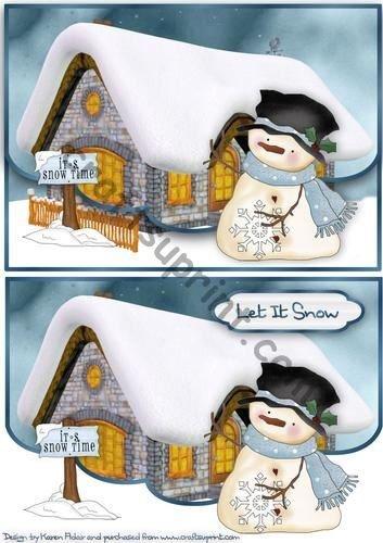Whimsy Snowman smerlato finto busta carta da Karen Adair - Whimsy Snowman