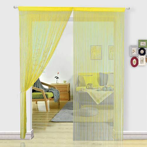 Hsylym - tenda a fili in pannelli per camere da letto, porte, zanzariera, divisorio di stanze, decorazione per la casa, poliestere, giallo, 90x200cm