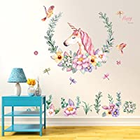Gemini_mall® Pink Butterfly Flowers Tree Wall Art Decal Sticker Mural Removable Decoration for Living Room Nursery Decor Baby Girl Kid Children Women Room Bedroom