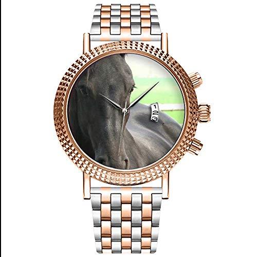 Mode Wasserdichte Herren-Armbanduhr Analog Quarz Edelstahl Mit Gold 507.Schwarze Friesische Pferzwalzen-Uhr
