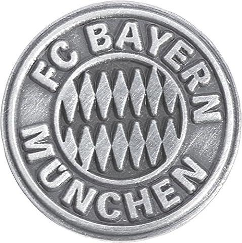 Pin FC Bayern München Emblem Silber - 1.5 x 1.5 cm + gratis Aufkleber, Flaggenfritze®