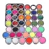 SMILEQ 42 Acryl Nail Art Tipps Pulver flüssige Pinsel Glitter Clipper Primer Datei Set Kit (One Size, Mehrfarbig)