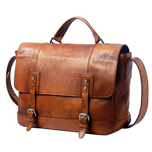 LAIDAYE Retro Aktenkoffer Männer Handtasche Umhängetasche Schmaler Spread Bag Pack Tasche Packbook Bag Pack Brown
