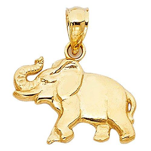 Paradise Jewelers oro amarillo sólido de las mujeres pulido colgante del elefante