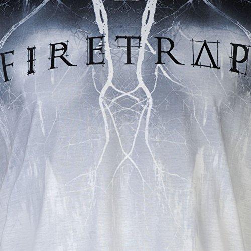 Firetrap Herren Sub T Shirt Kurzarm Rundhals Grafik Print Motiv Freizeit Blitzschlag