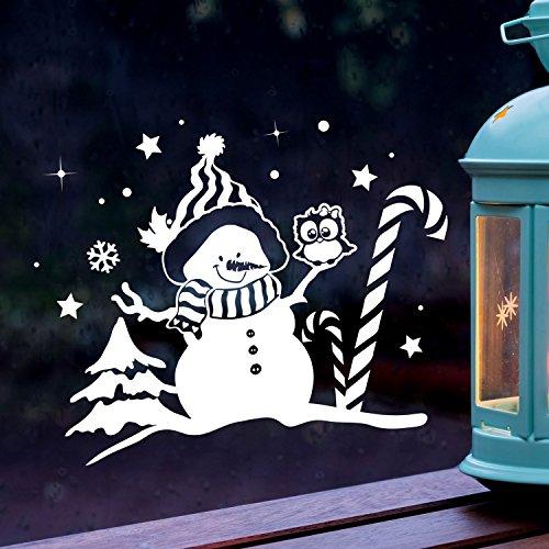 Fensterbild Schneemann & Eule Fensterbilder Fensterdeko Winterlandschaft XL 60x47cm + Sterne & Schneeflocken selbstklebend für Kinder M2262 ilka parey wandtattoo-welt®