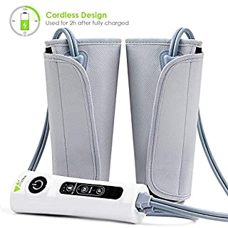 Amzdeal Leg Massager Air Compression Leg Wraps for Calf Arms Foot Circulation with 3 Intensity Levels, Electric Calf Massager for Home/Office/Travel Use