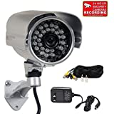 VideoSecu Bullet Security Camera Day Night Infrared Outdoor Built-in 1 3 SONY CCD 26 IR LEDs Surveillance Camera for CCTV DVR Home Surveillance System with Power Supply Extension Cable 1OF