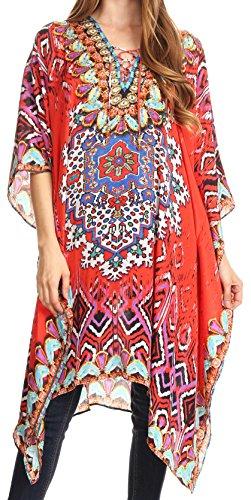 Sakkas P2 - Kristy Long Tall Leichtes Kaftan Kleid/Cover mit V-Ausschnitt Juwelen - 17129-RedBlue - OS (Damen Hosen Kleid In Tall)