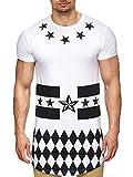 S!RPREME Herren Oversize T-Shirt Sterne Hip Hop Langes Shirt Longshirt Kurzarm Poloshirt Slim Fit Hemd Weiß Weiss XL