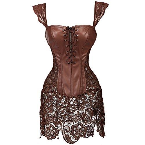 Kiwi-rata Damen Gothic Kunstleder Korsagenkleid Schwarz Faux Leder corsage Clubwear 4 Farbe/Gr. S - (Kostüme Showgirl Burlesque)