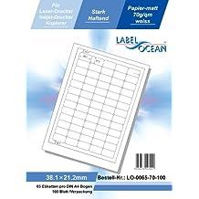 LabelOcean LO-0065-70, 6500 Etiketten 38.1x21.2mm, 100 Blatt DIN A4, 70g/qm, geeignet für Inkjetdrucker-, Laserdrucker und Kopierer.