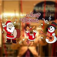 Heekpek Noël Neige Boule Amovible en Vinyle Maison Fenêtre Decoration Murale Stickers Autocollant 25 * 70cm 2pcs (C)