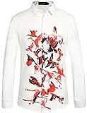 SSLR Herren Vögel Druck Normal Fit Button Up Langarm Freizeit Hemd (Large, Weiß)
