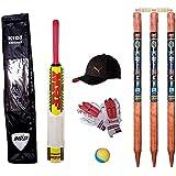 Jaykal Small Boys Cricket Set, Wooden Cricket Kit with Carry Bag, Cricket Kit Full Set