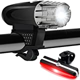 Fahrradlicht LED Set,Tinzzi LED Fahrradbeleuchtung Wiederaufladbare,Fahrrad-Frontlichter mit Rücklichter,USB Aufladbare Fahrradlichter,4 Licht-Modi 2 USB-Kabel,Schwarz
