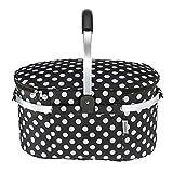 TOMSHOO 30L faltbare Picknick-Korb im freien isoliert Ablagekorb Einkaufskorb klappbar Aluminium Griff 46 * 25 * 24 cm