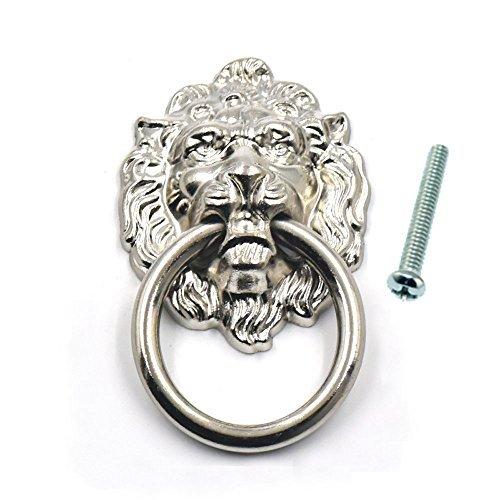bluemoona 10PCS-Vintage Lion Head Möbel Tür Pull Griff Knauf Schrank Dresser Schublade 4cm (40mm) X 6,7cm (67mm), silber, Size: 1.57