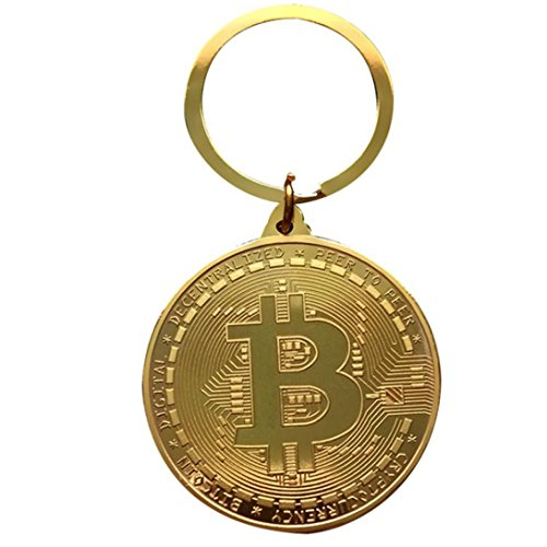 AmaMary Bitcoin Münzen Schlüsselring, Weinlese Schlüsselring mit überzogenem Bitcoin-Münzen-Anhänger für Schlüssel Große sammelbare Geschenk Kunst-Sammlung für Freund Familie (gold) (Große Gold Münze Anhänger)