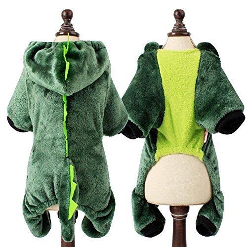 HYGMall 1 STÜCK Hund Winter Cartoon Tiere Panda Lion Kostüm Für Hunde Katze Mantel hoodie Kleine Welpen Kleidung Weihnachtsgeschenke Pullover (Grün, L)