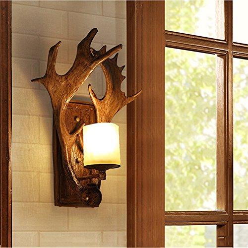 OOFAY Light@ Industrielles Wandleuchte Retro Wandlampe Persönlichkeit Glas Schatten Harz Kerzenständer Massivholz E14 Innen Flur Hotel Restaurant Küche Esszimmer Europäischer Stil (Mundgeblasenes Wandlampen Glas)