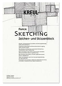 KREUL 69002-Paper Sketching, Caracteres y Bloc de Dibujo, DIN A4, 20Hojas
