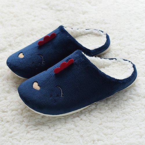 DogHaccd pantofole,Giorno è incantevole coppie home pantofole inverno new anti-slittamento cartoon impermeabile pulcini pantofole di cotone felpato caldo Blu scuro3