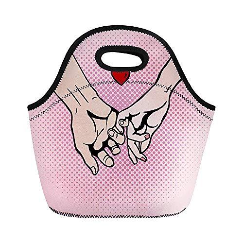 Pärchen in Love Hold Hands Pop Comic Buch Imitation Isolierte Neopren Lunch-Taschen für Frauen für Arbeit Erwachsene Männer Kinder Picknick Lunchbox Modern Lunchbox -