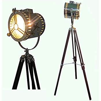 Vintage Retro Floor Focus Tripod Searchlight Lamps Spotlights ...