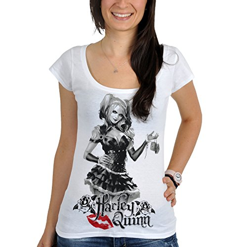 Harley Quinn Comic Camiseta de niña y señora Time To Play Color Blanco - M