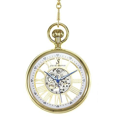 Golden Pocket Watch Mechanical Movement Skeleton Watch