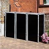 Hide Mülltonnenbox, Mülltonnenverkleidung, Gerätebox schwarz // 181x63x115 cm (BxTxH) // Aufbewahrungsbox für 3 Mülltonnen 140l Volumen